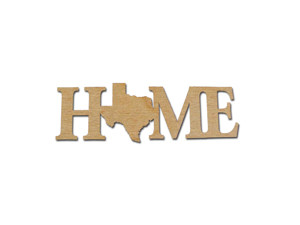 Texas State Home Sign Unfinished Wood Cutout Connected Wooden Letters