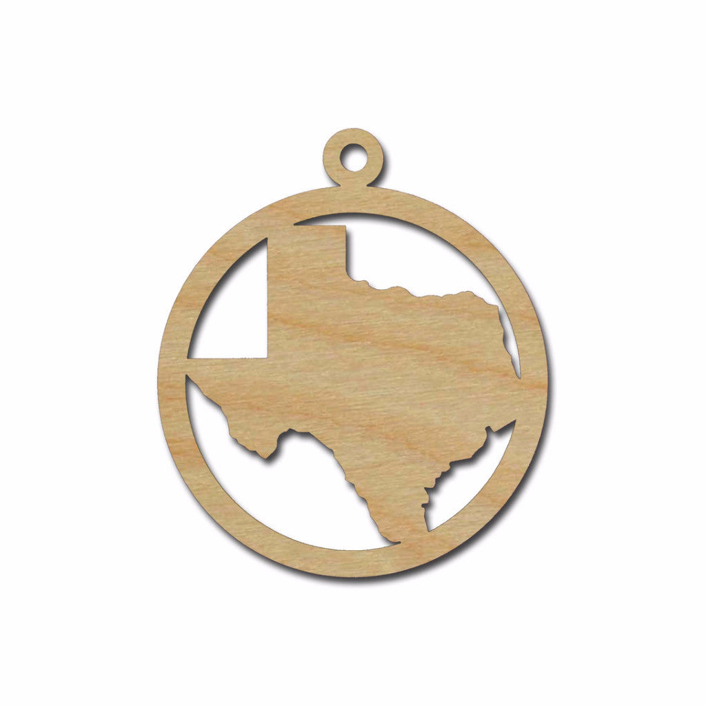 Texas State Ornament Unfinished Wood Christmas Cutout