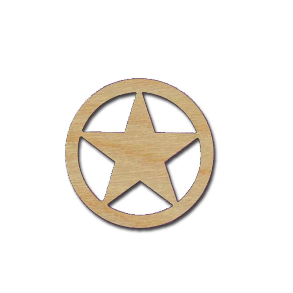 Texas Star Shape Unfinished Wood Craft Cut Out Variety Of Sizes Made In USA