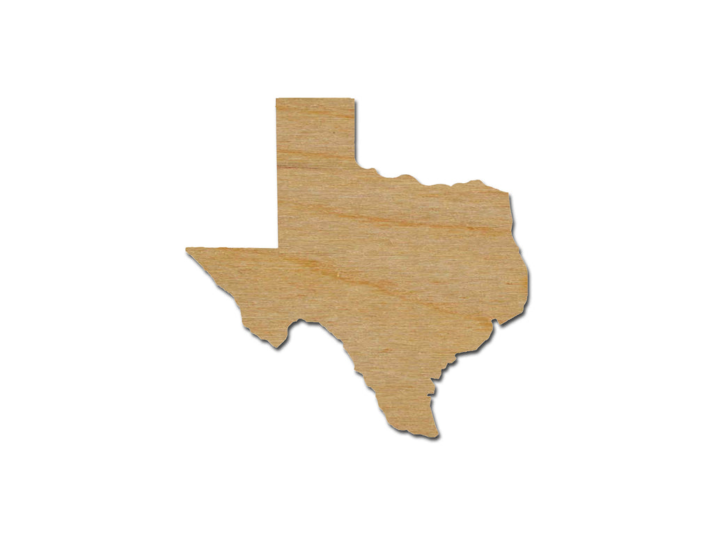 Texas State Shape Unfinished Wood Craft Cut Out Variety Of Sizes Made In USA