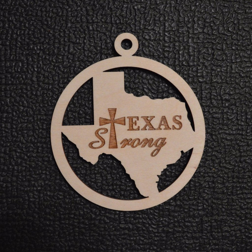 Texas Strong Engraved Ornament Unfinished Wood Cutout