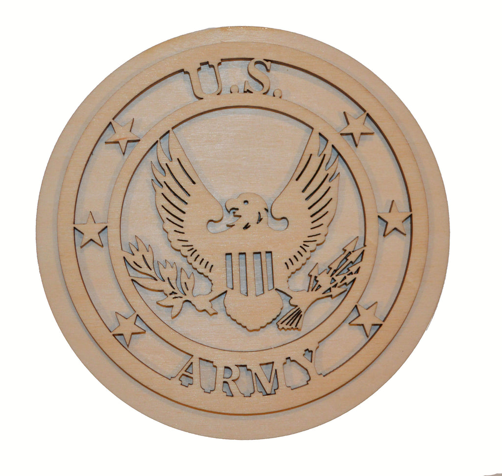 U.S. Army Badge Wood Cutout US ARMY Part# USARM2