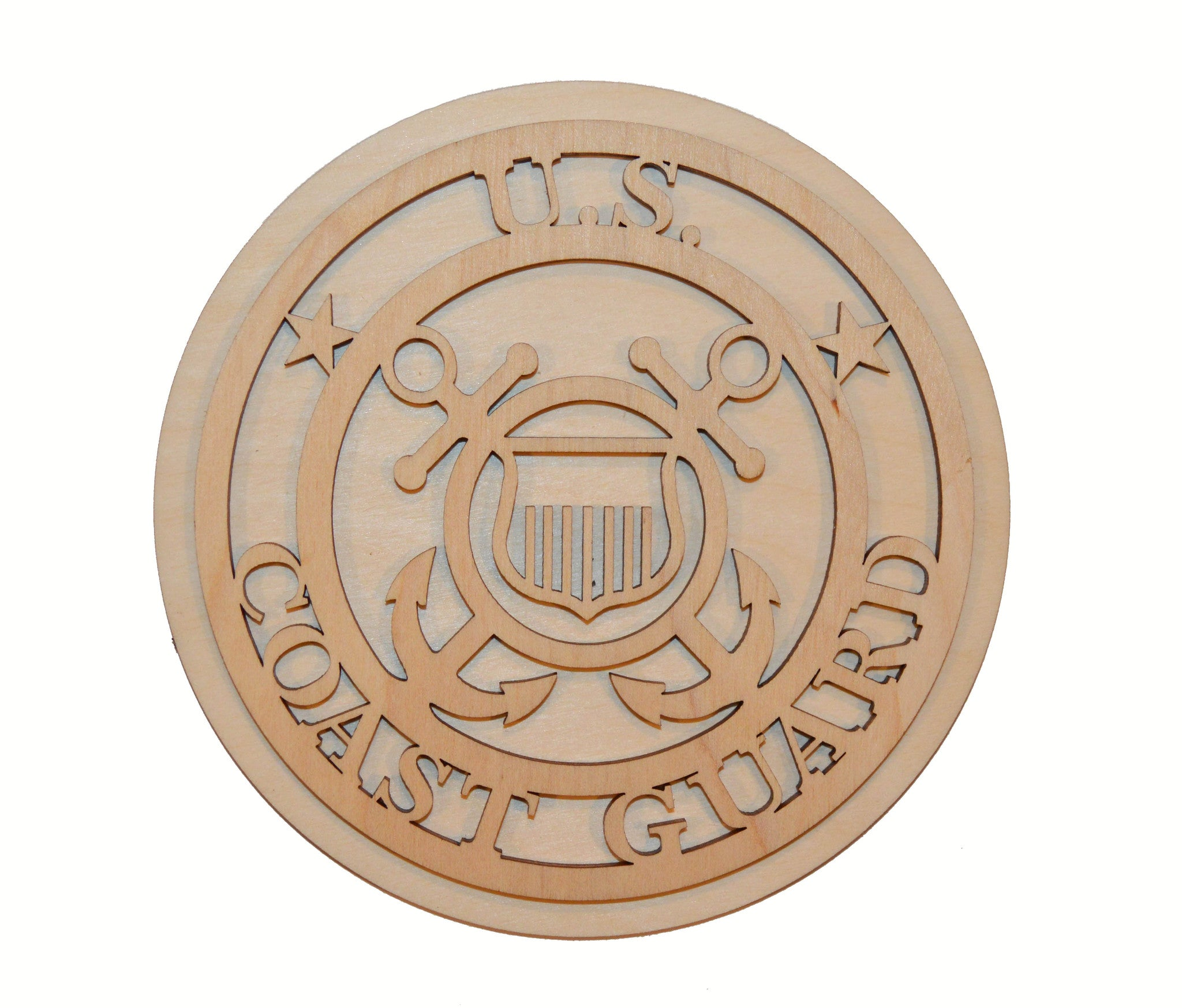 U.S. Coast Guard Badge Unfinished Wood Cut Out Part # USCG