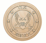 U.S. Navy Badge Unfinished Wood Cut Out Part # USN-05