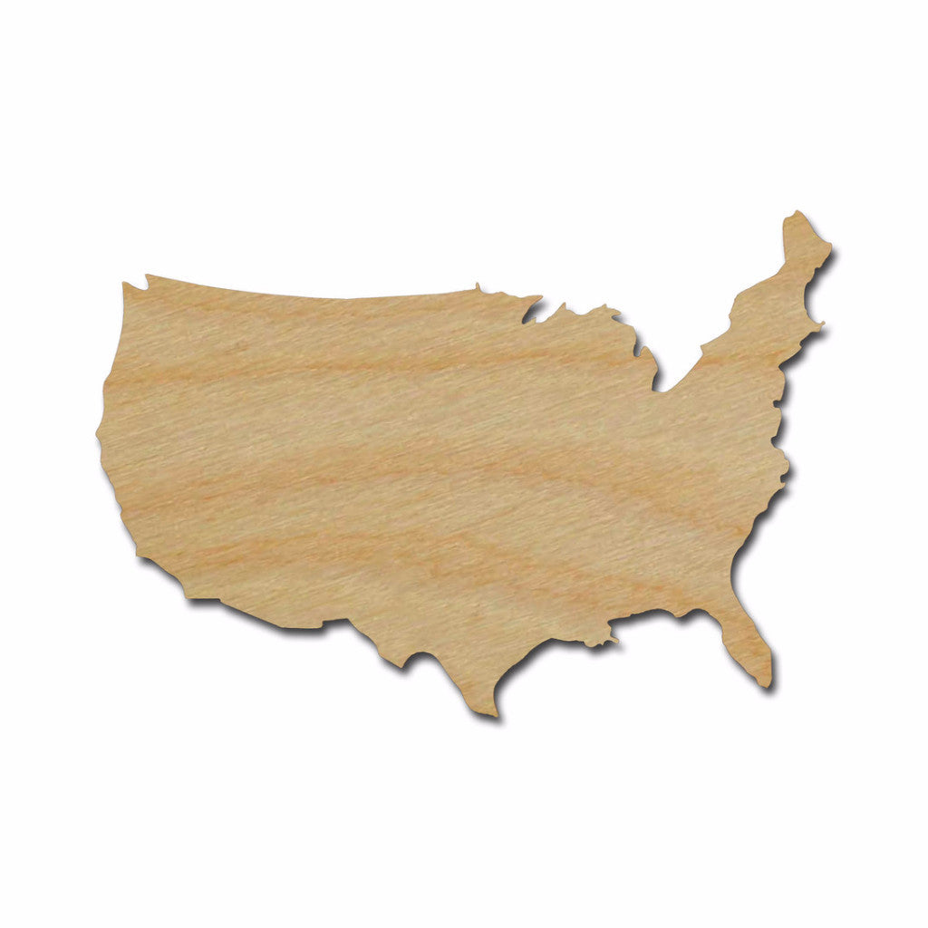 United States Shape Unfinished Wood Cutout USA Variety of Sizes