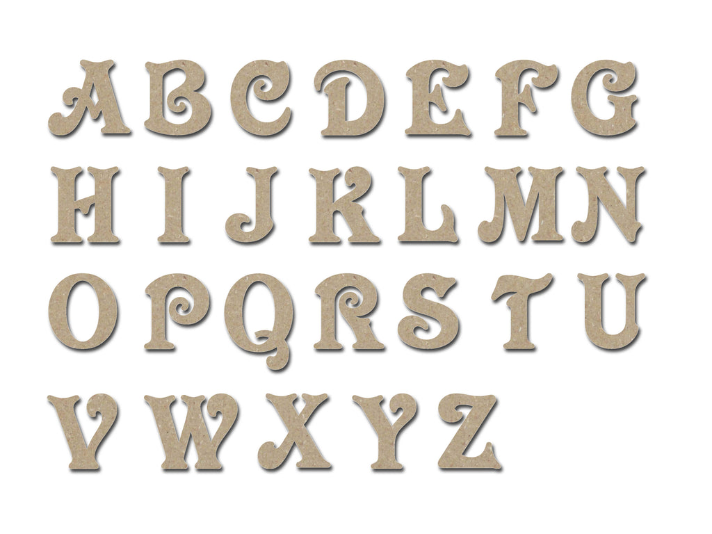 Unfinished Wooden Letters Unpainted MDF Alphabet  4 Inch tall