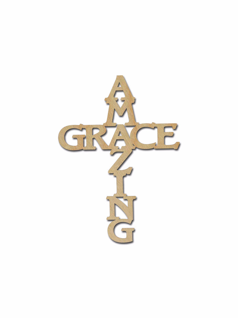 Amazing Grace Cross Unfinished Wood Crosses Variety of Sizes C134