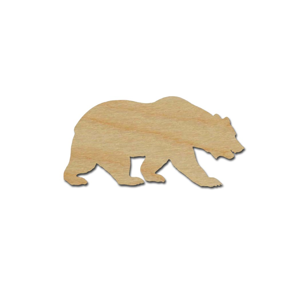 California Grizzly Bear Shape Unfinished Wood Animal Cutouts Variety of Sizes