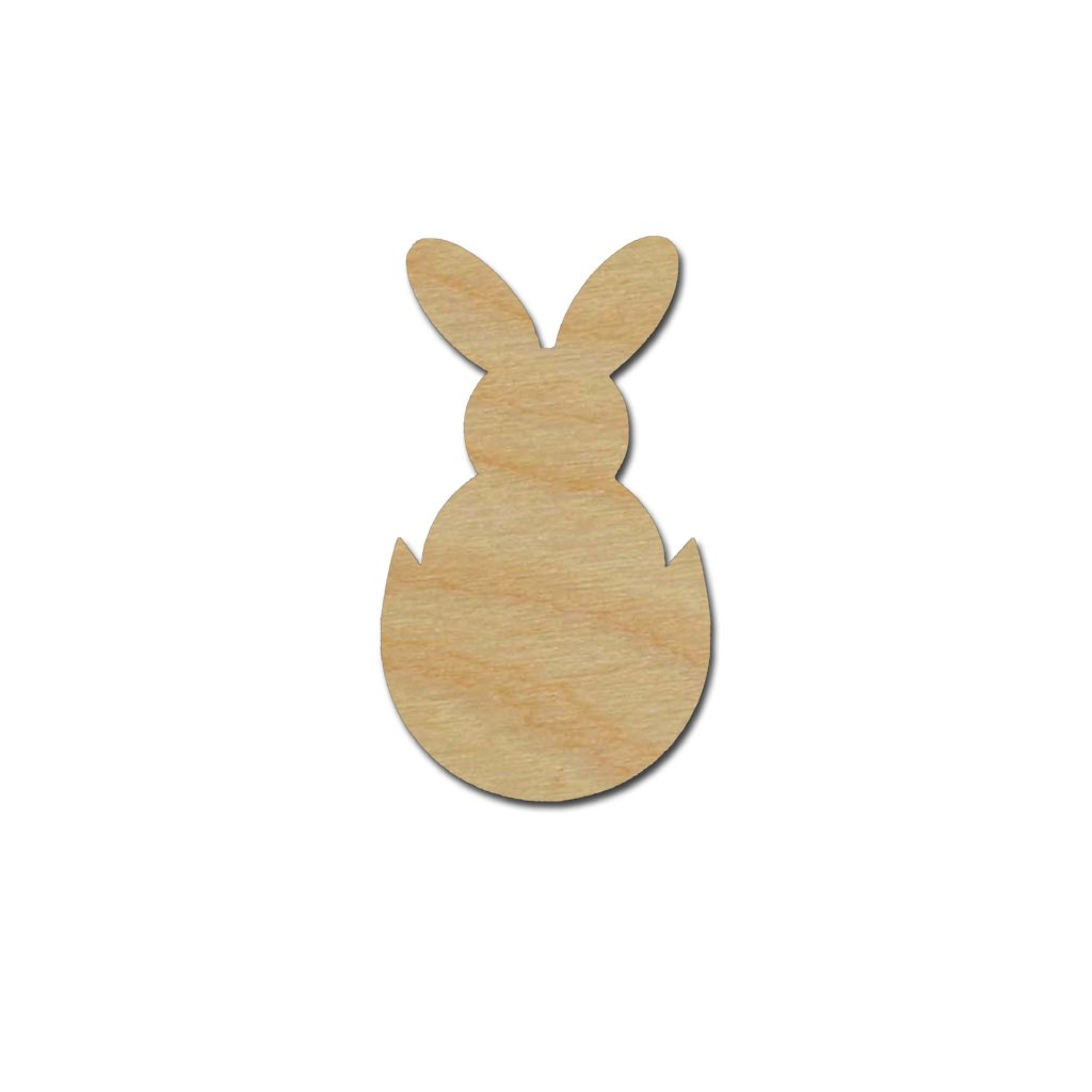 Easter Bunny in Egg Shape Unfinished Wood Craft Cutout Variety of Sizes