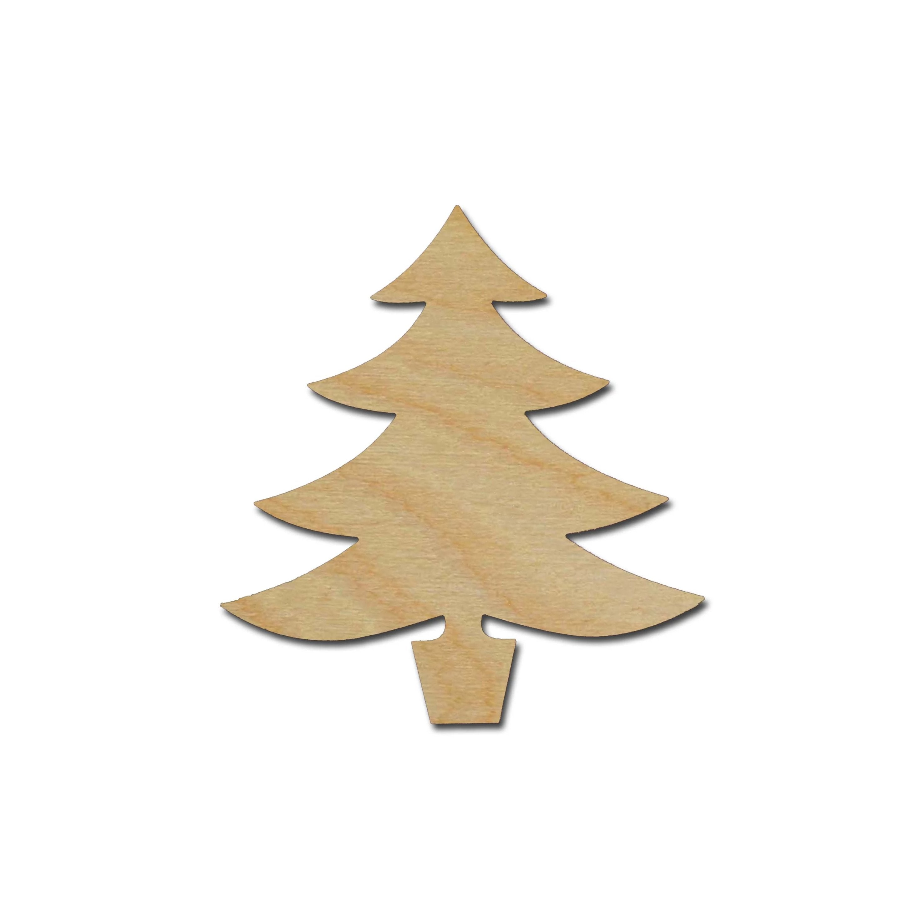 Christmas Tree With Star Unfinished Wood Cutout