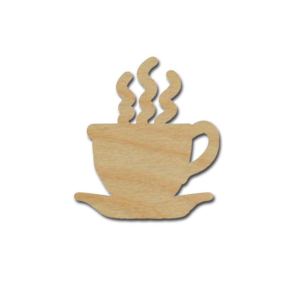 Coffee Cup Shape Unfinished Wood Craft Shapes Variety of Sizes