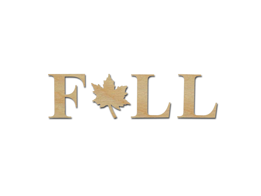 Fall Wood Letters With Maple Leaf Unfinished Wood Cutout