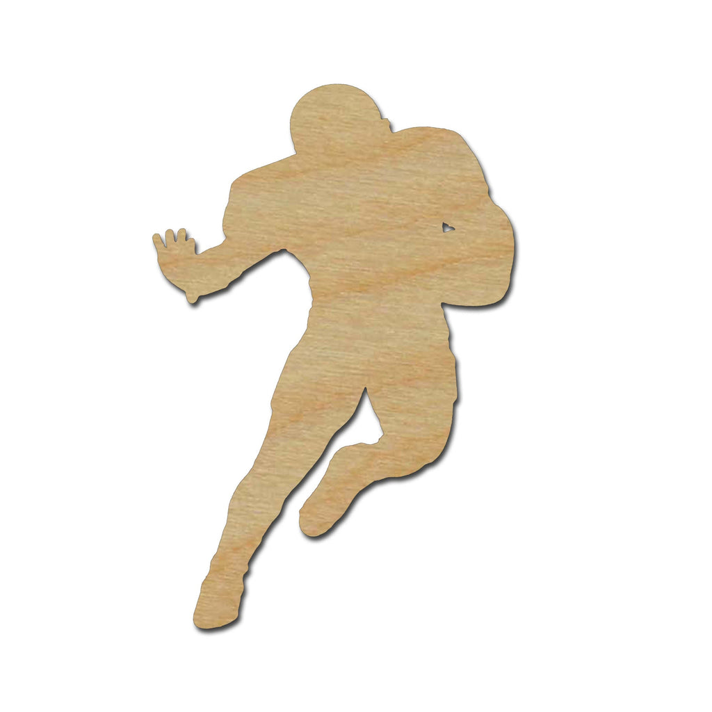 Football Player Shape Unfinished Wood Cutout Sports Theme Variety of Sizes #01