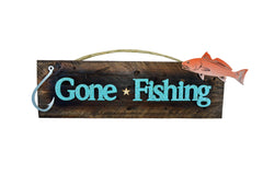 Gone Fishing Rustic Red Fish Sign