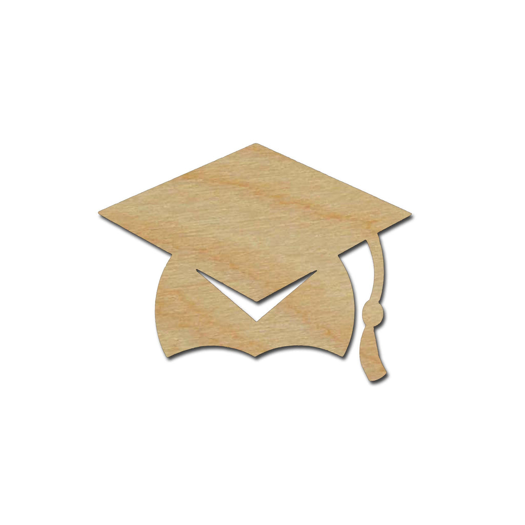 Graduation Cap Shape Unfinished Wood Craft Cutout Variety of Sizes