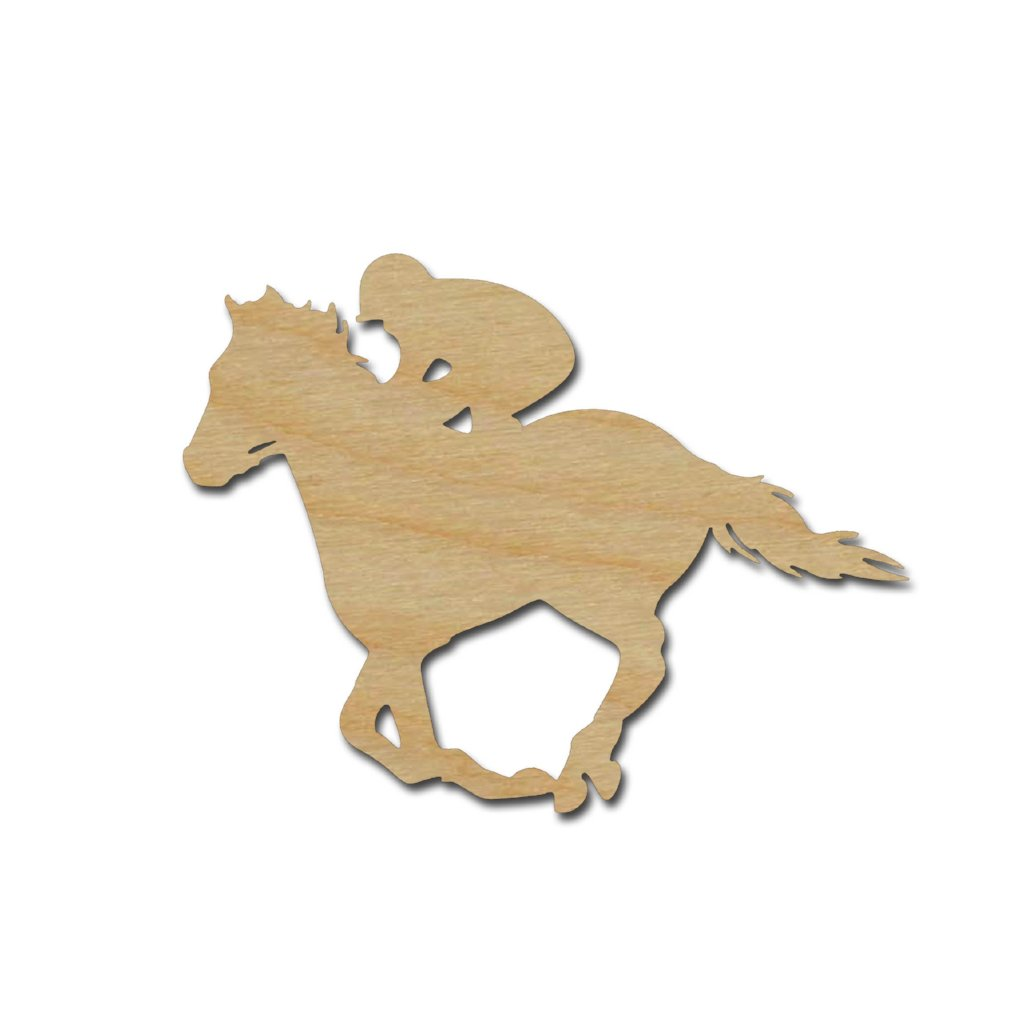 Horse Jockey Derby Racing Shape Unfinished Wood Cutout Variety of Sizes