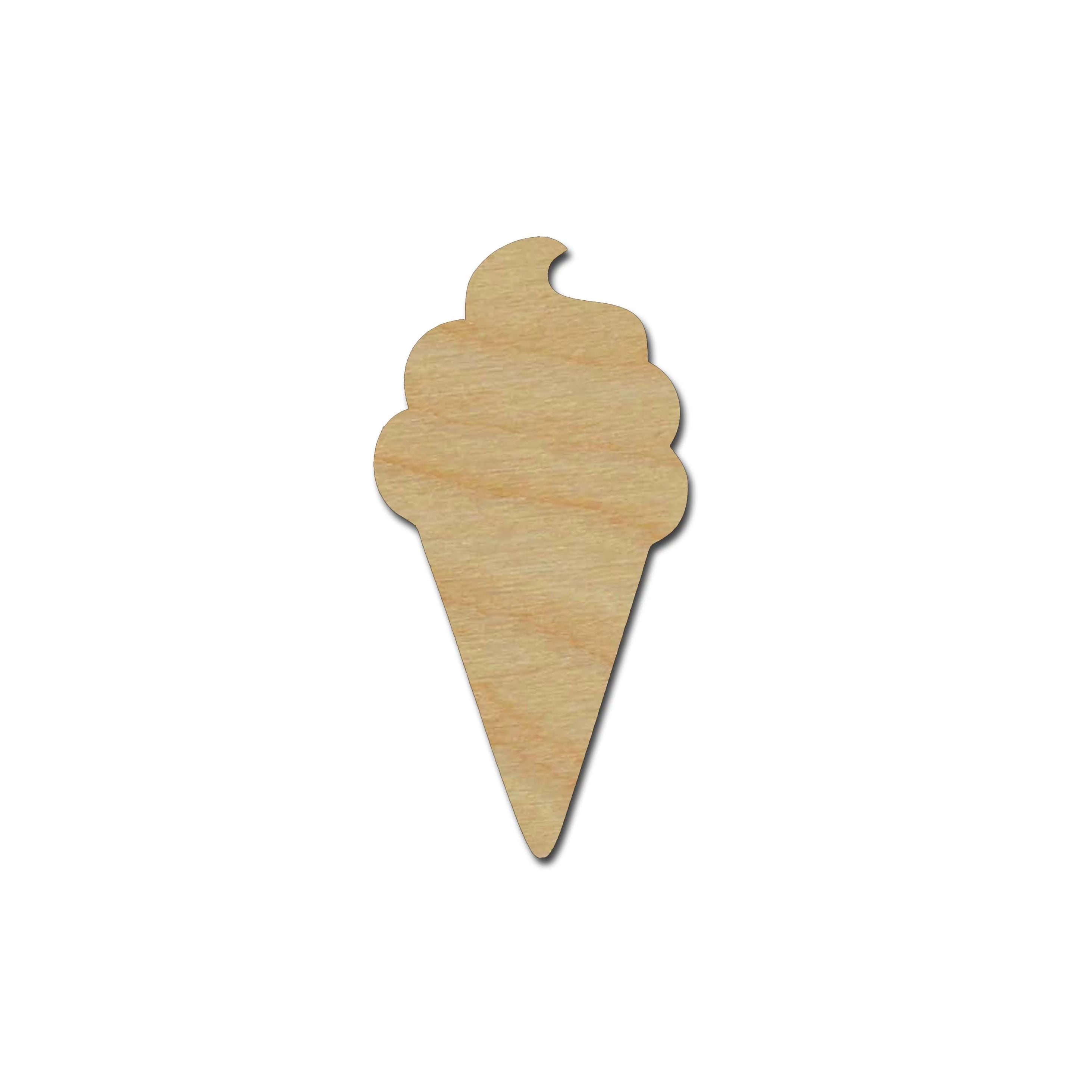 Ice Cream Cone Shape Unfinished Wood Cutouts DIY Crafts