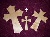 Layered Unfinished Wood Cross Set