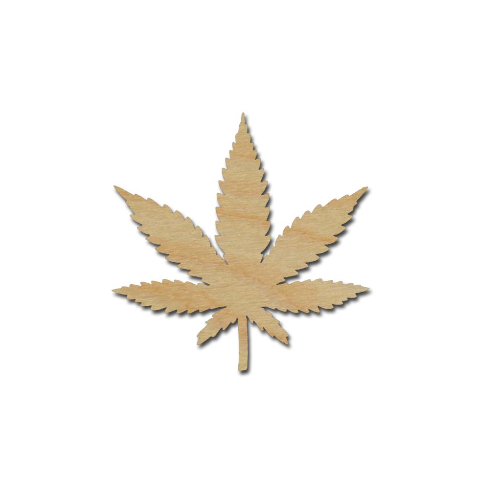Cannabis Marijuana Pot Leaf Shape Unfinished Wood Cutout Variety of Sizes