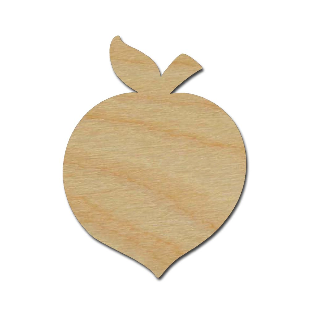 Peach Shape Unfinished Wood Fruit Craft Cutouts Variety of Sizes