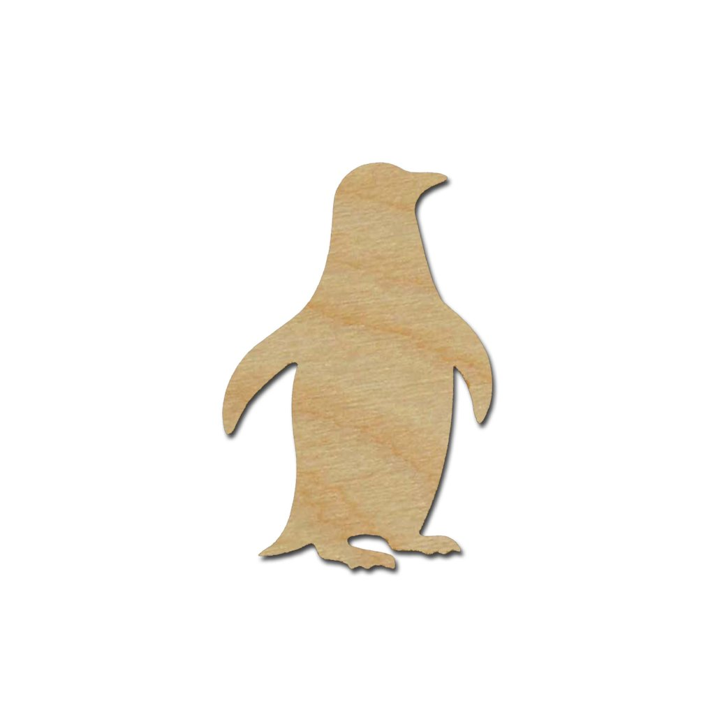 Penguin Shape Unfinished Wood Cutout Sea Life Theme Variety of Sizes