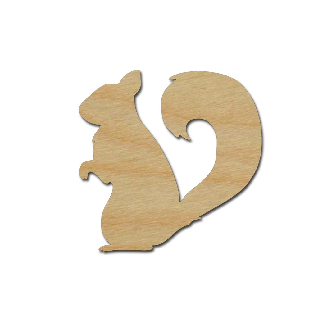 Squirrel Shape Unfinished Wood Animal Craft Cutout Variety of Sizes
