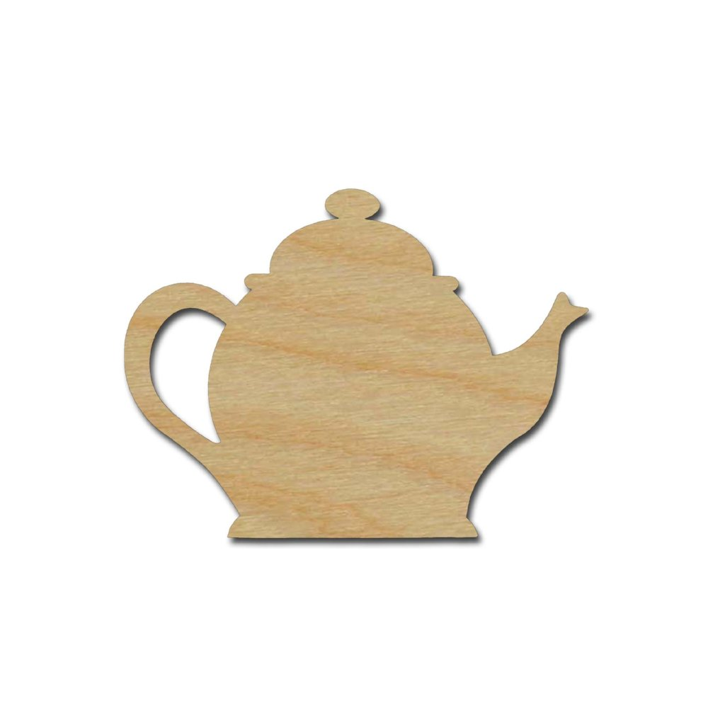 Teapot Shape Unfinished Wood Craft Shapes Variety of Sizes
