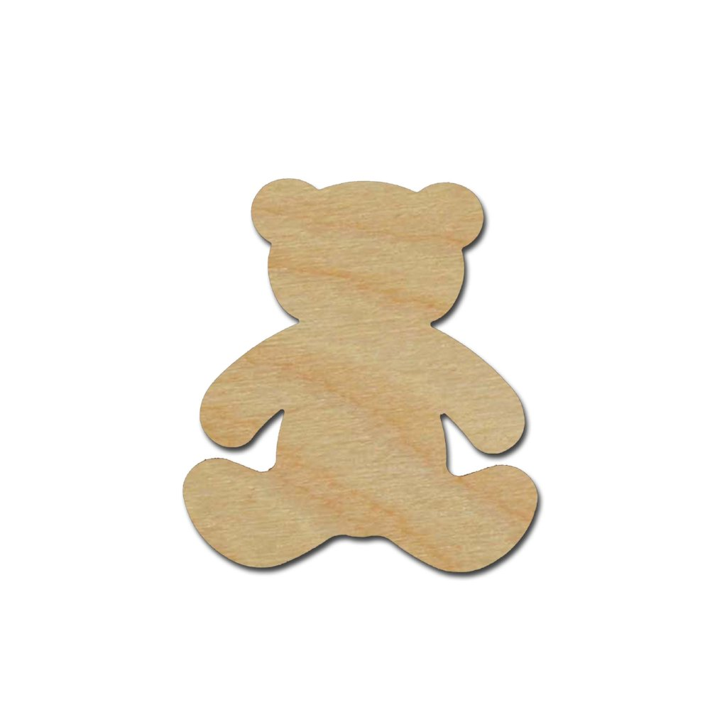 Teddy Bear Shape Unfinished Wood Craft Cutout Variety of ...