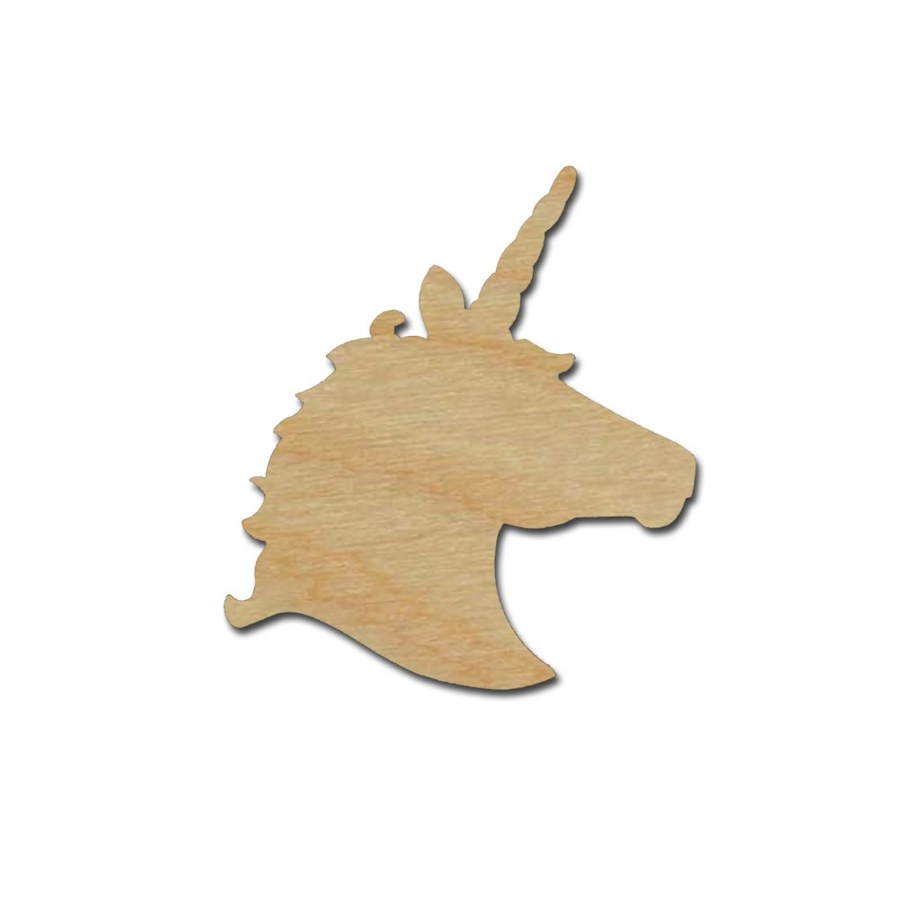 Unicorn Head Shape Unfinished Wood Craft Cutouts Variety of Sizes