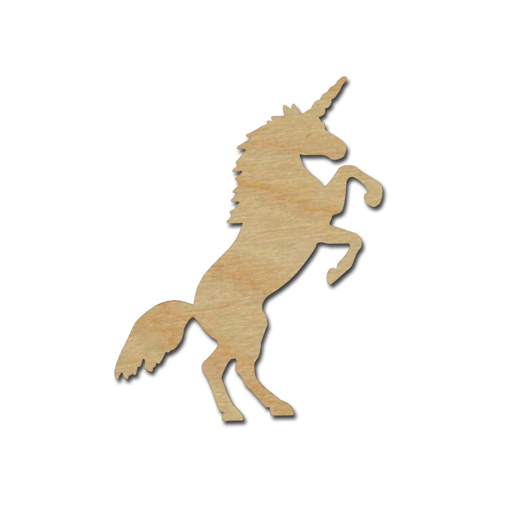 Unicorn Shape Unfinished Wood Craft Cutouts Variety of Sizes