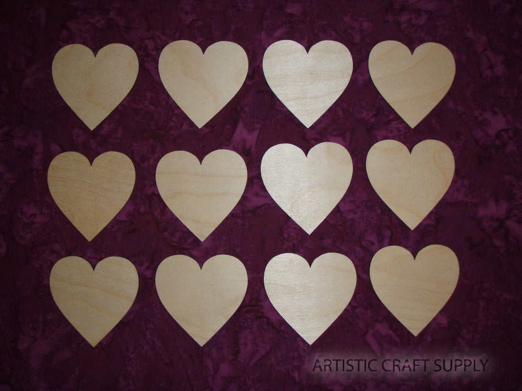 Hearts Shape Unfinished Wood Cut Out Wood Part # HEA-065