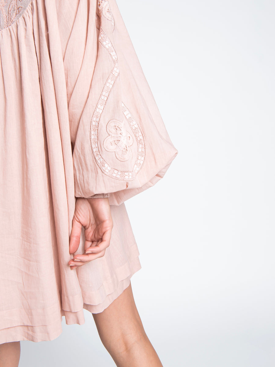 Vintage Pink Embroidered Gypsy Dress