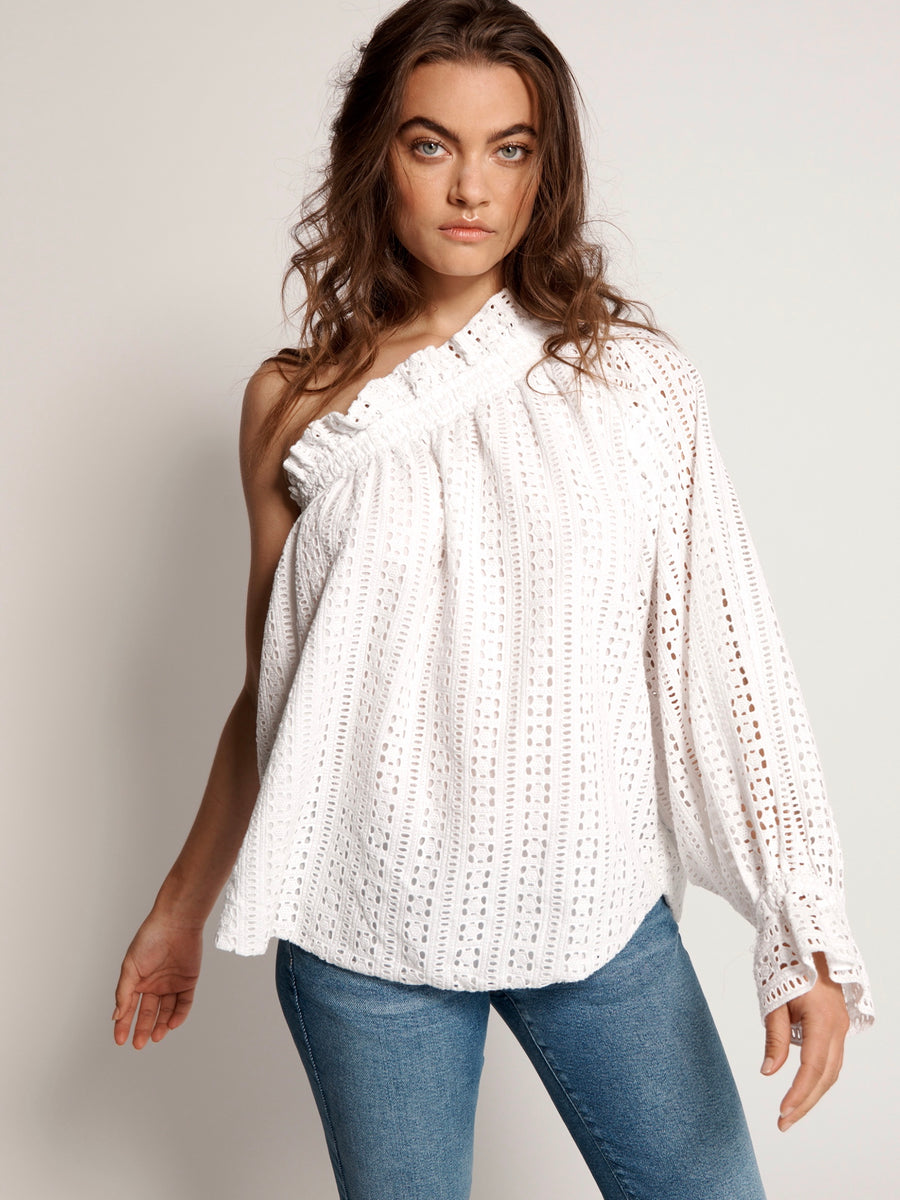 Embroidered Anglaise One Shoulder Top