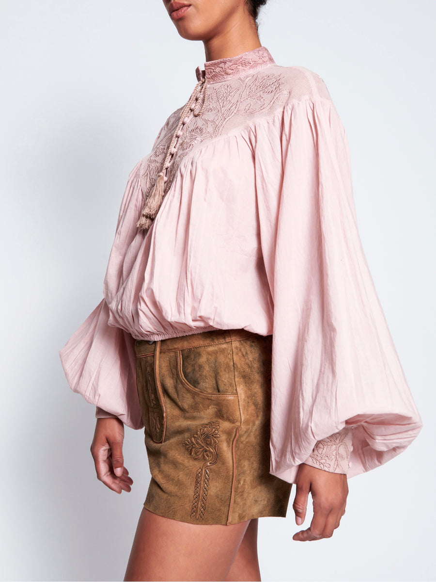 Vintage Pink Embroidered Gypsy Top