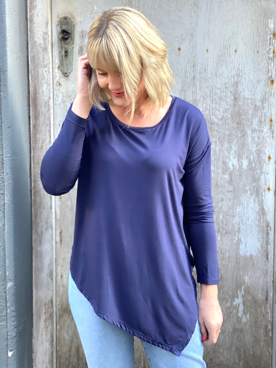 Sadie Asymmetrical Top Navy
