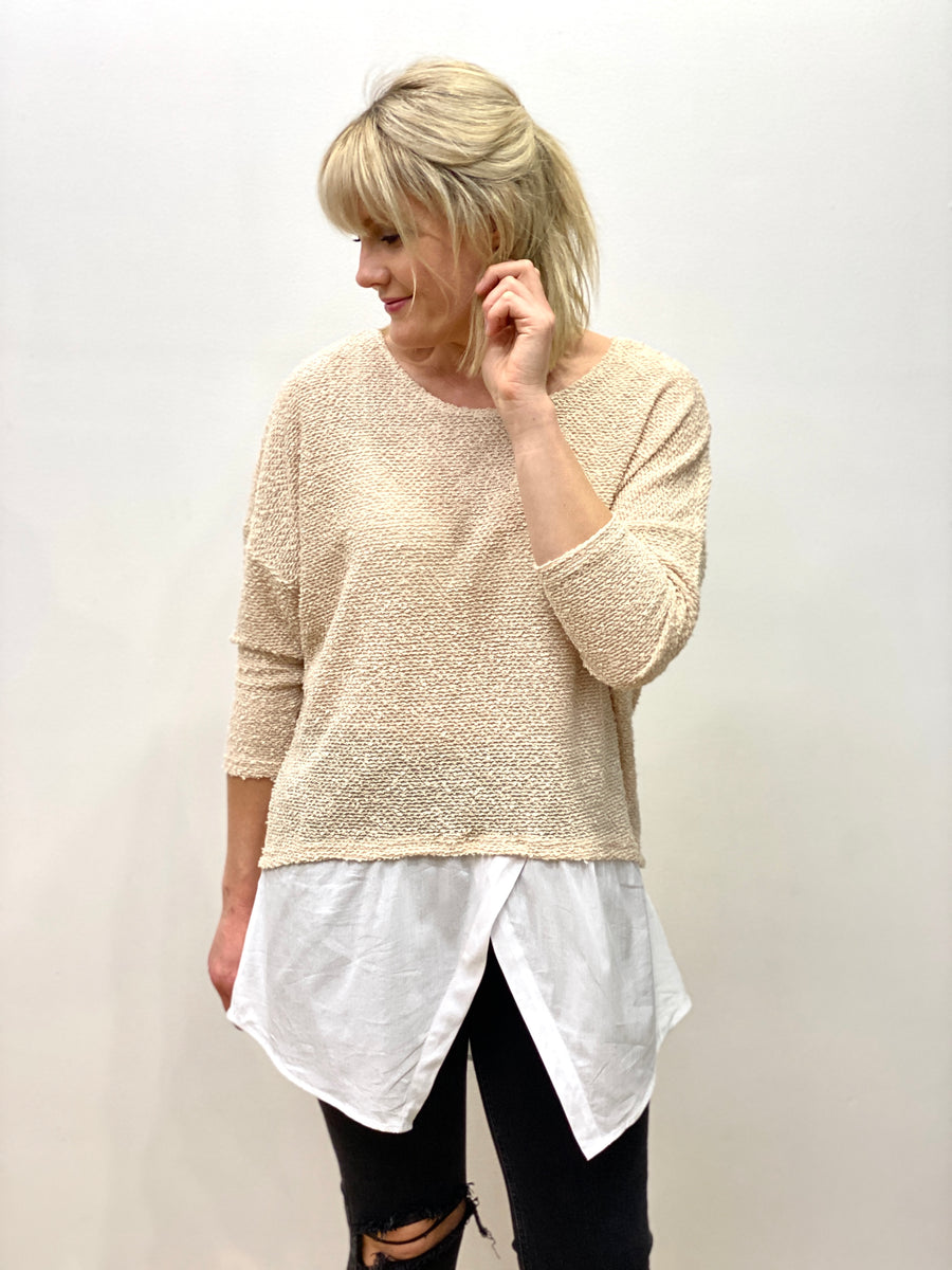 Tarra Knit Shirt Top Sand