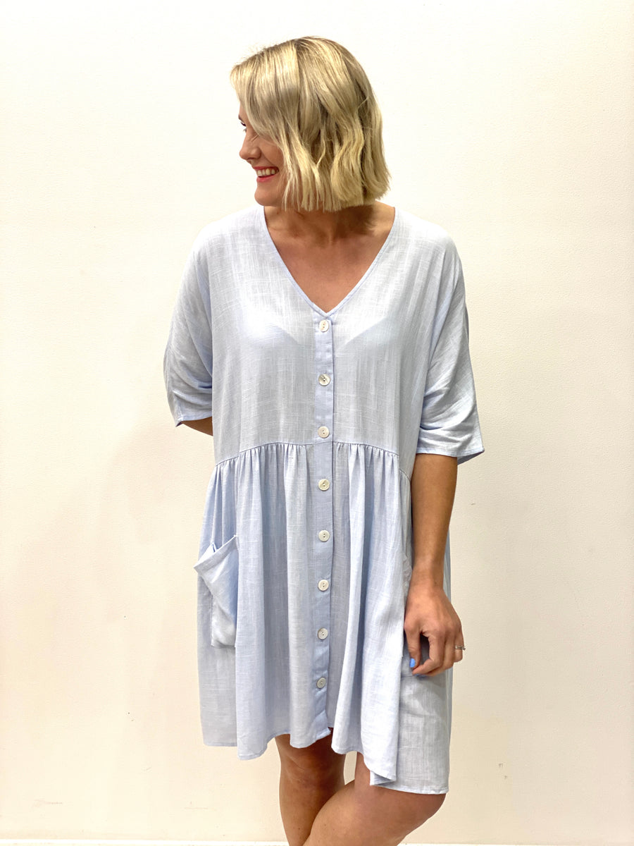 Christie Babydoll Dress  Baby Blue