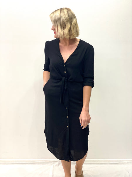 Bonnie Linen Dress Black
