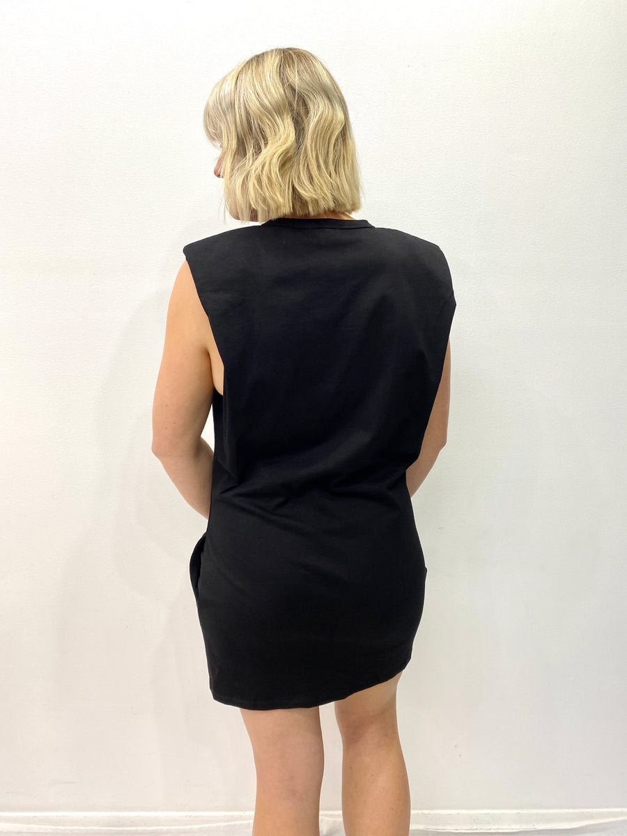 Shoulder Pad Tee Dress in Black