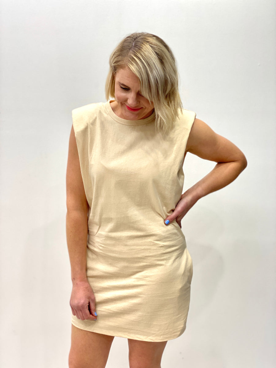 Shoulder Pad Tee Dress in Beige