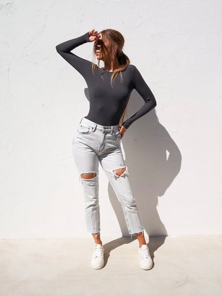 Long Sleeve Crew Neck Bodysuit Charcoal
