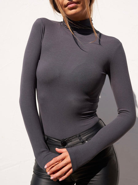 Turtle Neck Bodysuit Charcoal