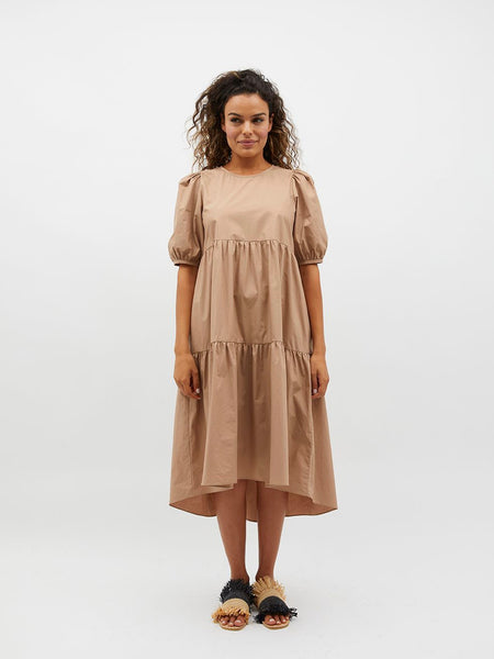 Nancy Hi-Low Midi Dress Beige