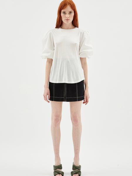 Carly Balloon Sleeve Top Ivory