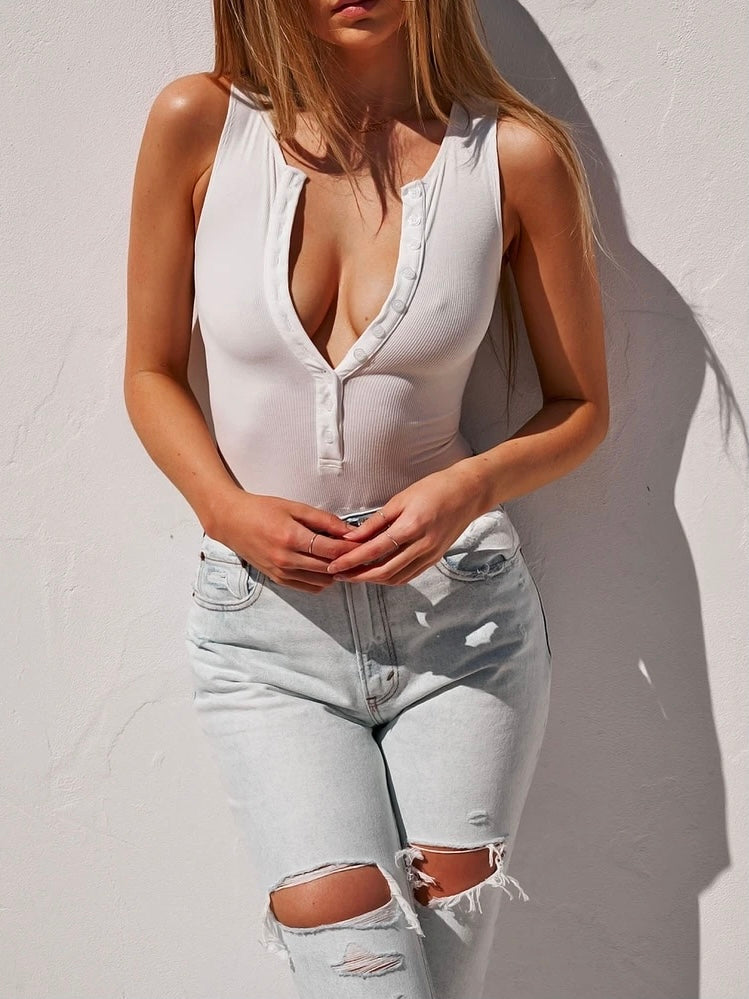 Crew Neck Button Down Bodysuit White