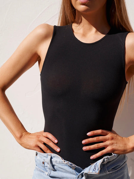Sleeveless Crew Neck Bodysuit Black