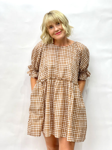 Jazzy Babydoll Dress Tan