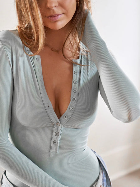 Long Sleeve Crew Neck Button Down Bodysuit Sage