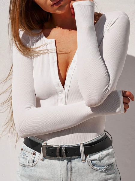 Long Sleeve Crew Neck Button Down Bodysuit White