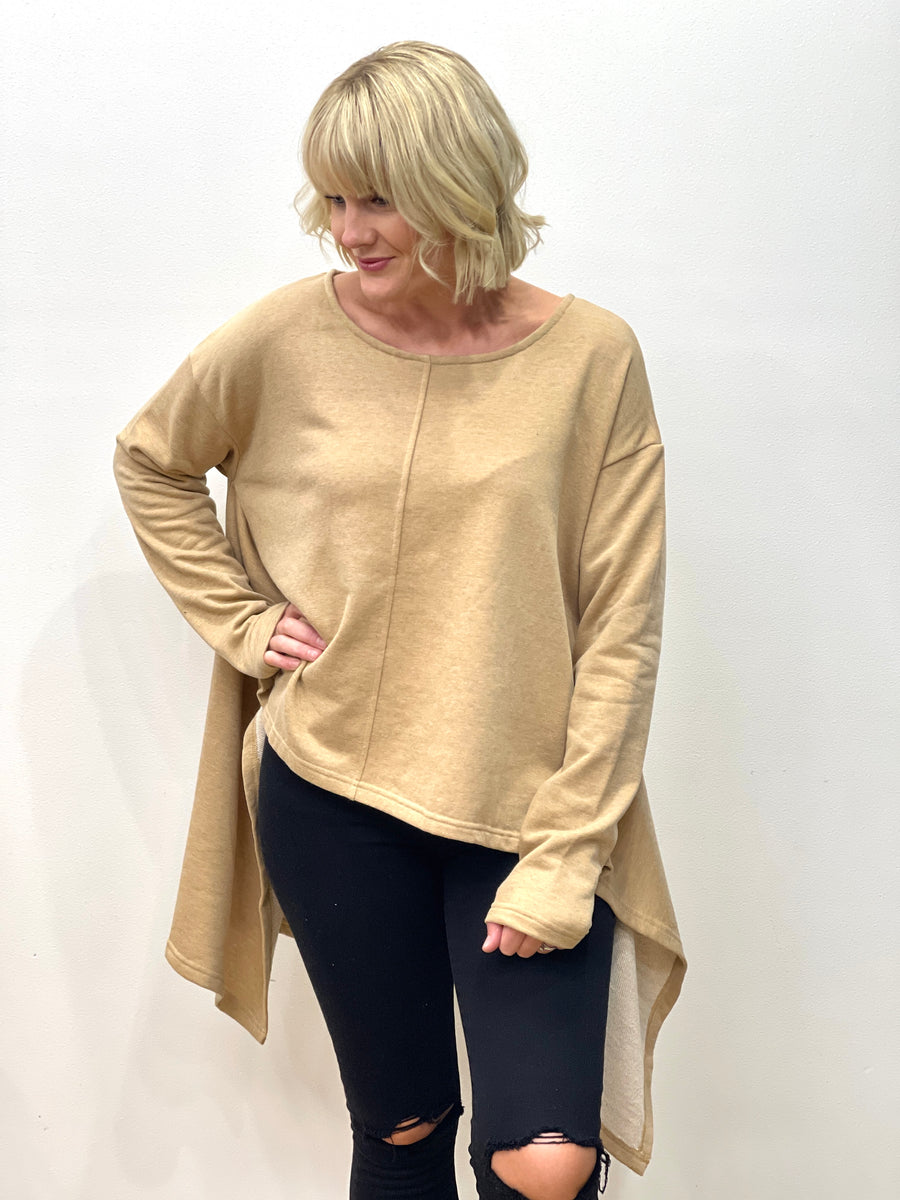 Camilla Drop Side Sweater Tan